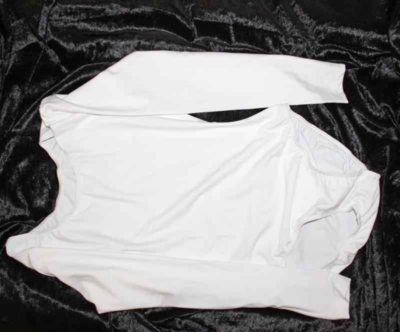 Uniform-Body mit langem Arm, schwere dickere hochelastische Stoffqualtiät (wenig durchsichtig)  uni weiß