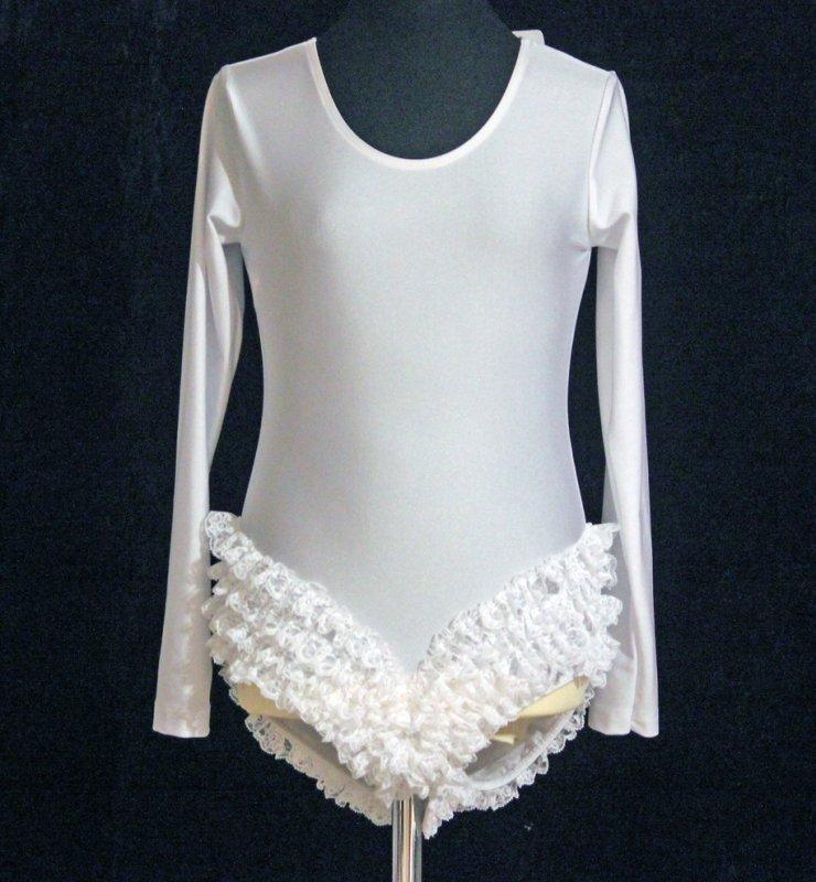 Uniform-Body Spitzenbody mit langem Arm, elastisch, mit Druckknöpfe im Schritt, 4 Reihen Spitze weiß an den Beineinsätzen