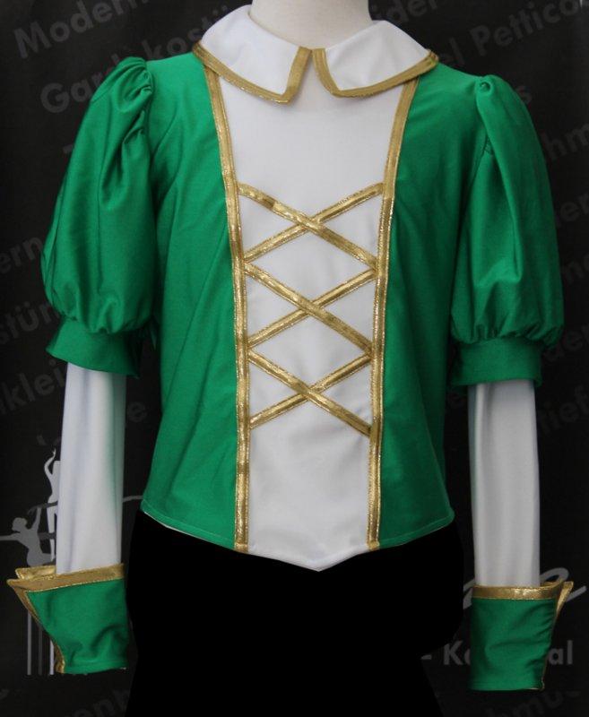Uniformweste 3X, Blusenkragen eingesäumt, dreifarbig mit XXX-Verschnürung Kugelpuffärmel und Armabschluss