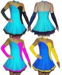 Gardekostüm Mira mit 2 Teller-Röcken in Taille und Petticoat 2stufig , Strass auf Arme, Rücken, Dekolltee, Rock aus deutscher Produktion