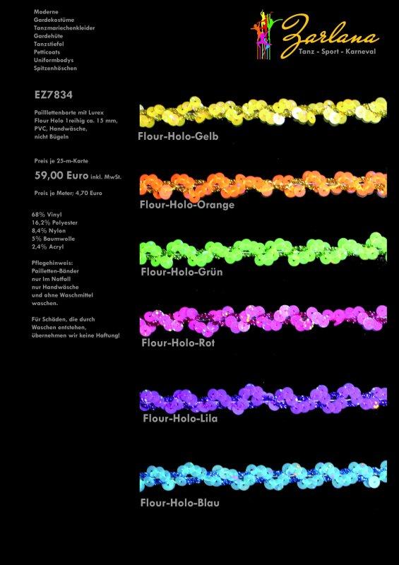 Paillettenborte 1reihig, ca. 15mm, 25-M-Karte Holo Fluor mit Lurexband