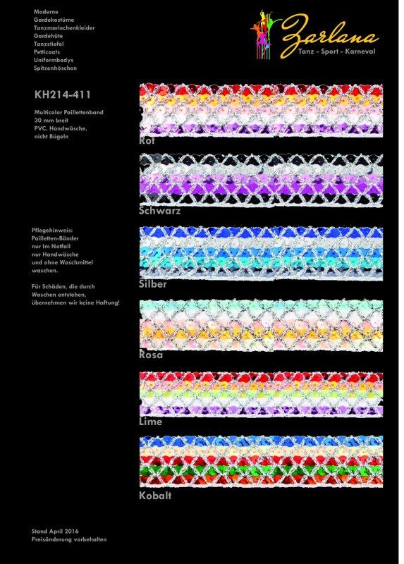 Multicolor Paillettenband 30 mm, 10-M-Karte