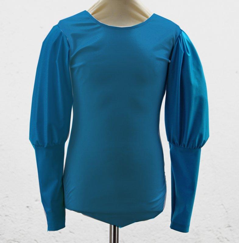 Uniformbody elastisch, Rundhals langer Keulenärmel / Puffärmel