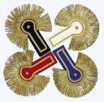 Epauletten, Schulterstücke farbig, Franzen gold