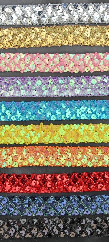 Paillettenband 20 mm mit Kreuzmuster,  25-M-Karte