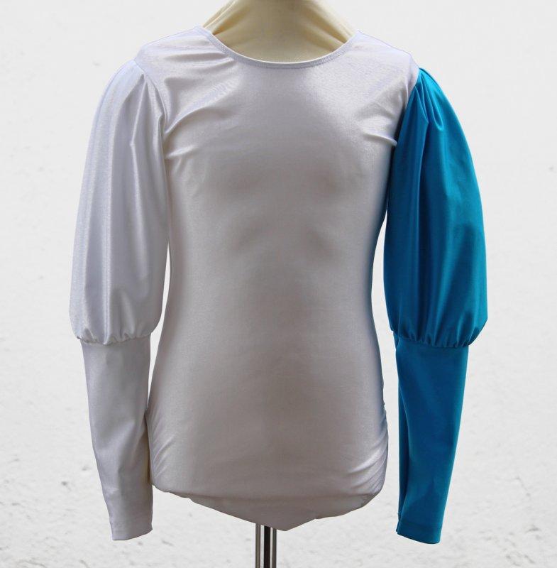 Uniformbody elastisch, Rundhals langer Keulenärmel 2farbig