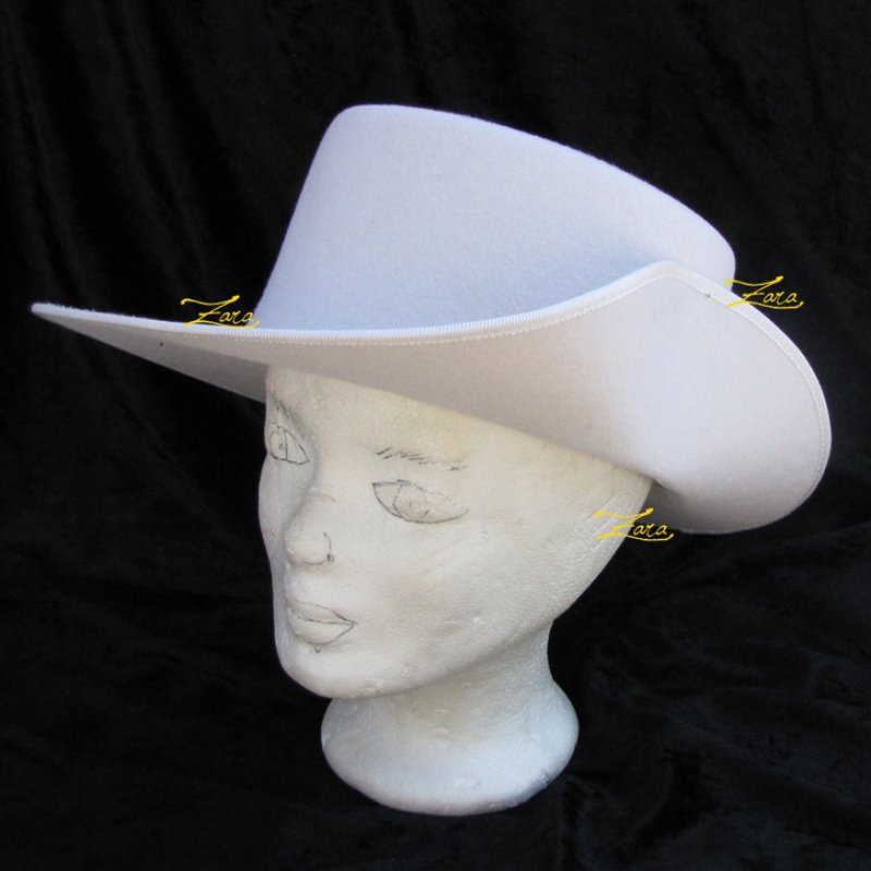 Musketierhut Luisa Rohling Weiß mit Huteinfaßband am Rand (ohne Hutband, Federn und Lederinnenband)