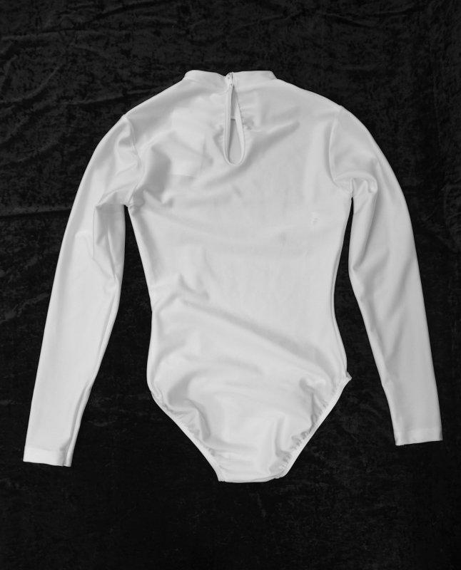 Damen Uniform-Body Lycra mit Stehkragen, lg. Arm, Tropenverschluss und Druckköpfe im Schritt