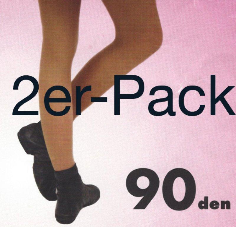 Sportstrumpfhose 90den OHNE Zwickel - 2er Pack