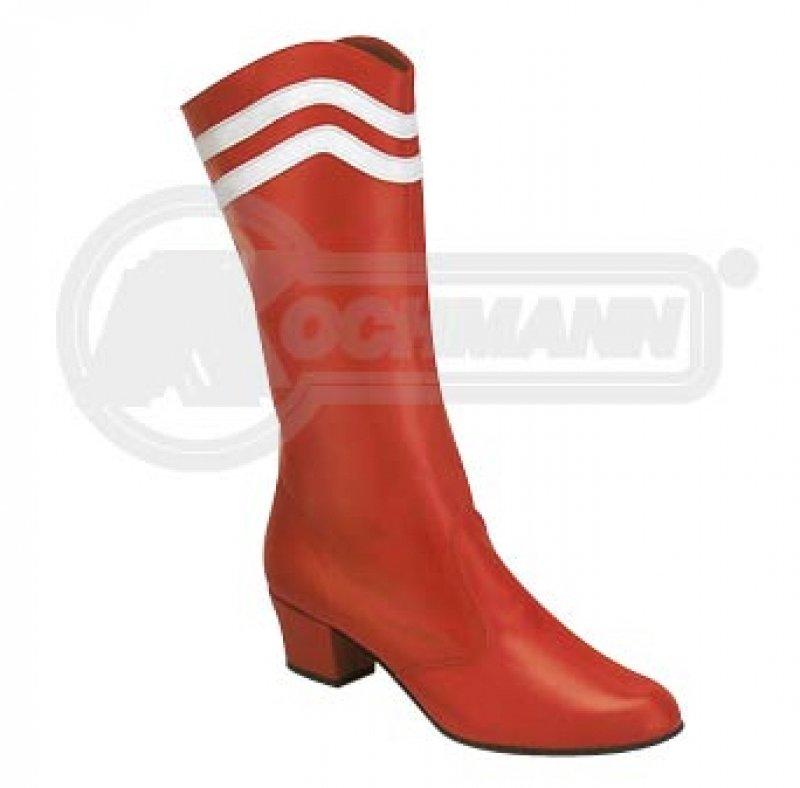 Profi Traditionsstiefel Majorettenstiefel Leder rot mit weißen Streifen
